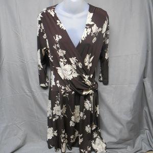 B Moss brown tan floral dress women's size large